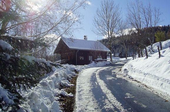Winter, Dorferhütte in Oberwölz, Steiermark, Steiermark, Österreich