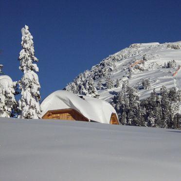 Blick auf Skipiste, Holzknechthütte, Aich, Steiermark, Steiermark, Österreich