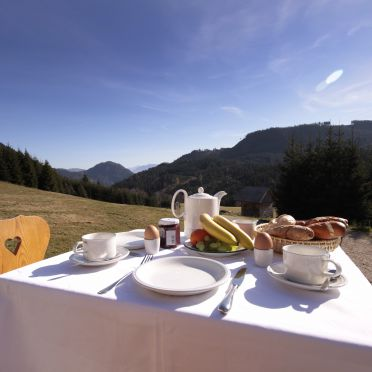 Frühstück auf Terrasse, Hütte Weikhardt in Tauplitz, Steiermark, Steiermark, Österreich
