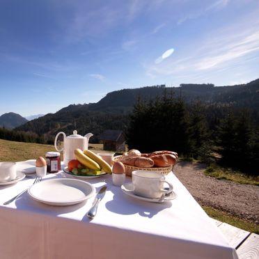 Frühstück auf Terrasse, Hütte Weikhardt, Tauplitz, Steiermark, Steiermark, Österreich