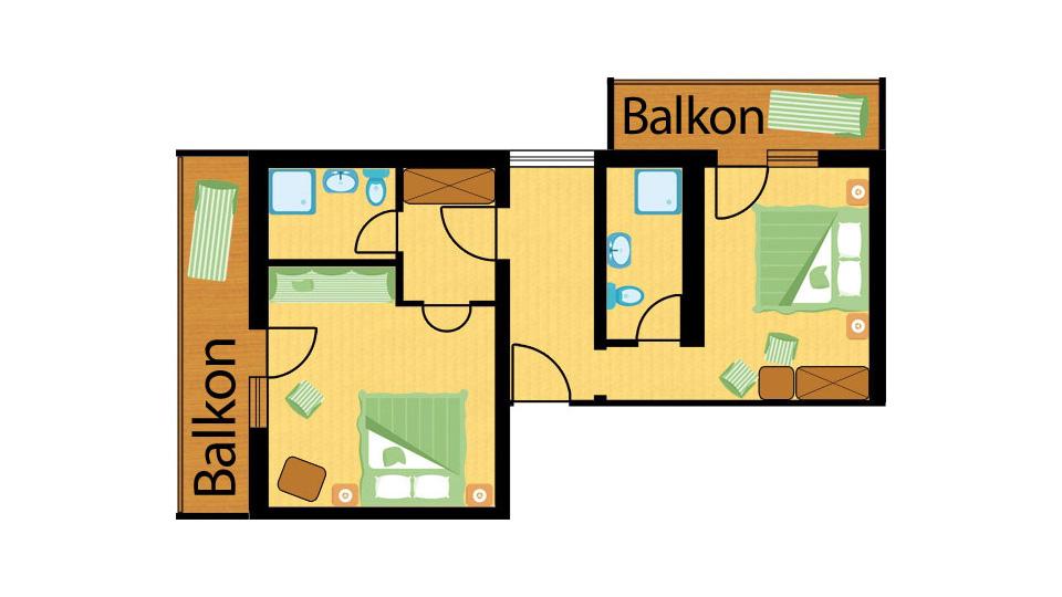 Raumplan Familien Apartment Straussennest im St. Johanner Hof