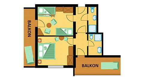 Raumplan Familien Apartment Schwanennest im Hotel Central