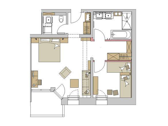 """Family-Suite """"Schreinerhof"""" Grundriss #1"""