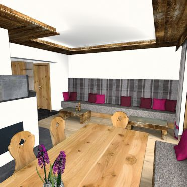 Bachgut Berg Chalet, couch and fireplace