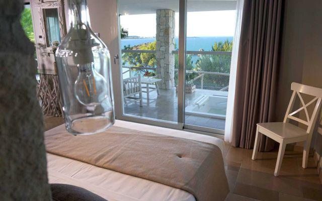 Zimmer des Familienhotels in Italien mit Meerblick