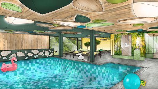 Indoor- und Outdoorpool sowie Saunabereich, 25 m langes Sportbecken