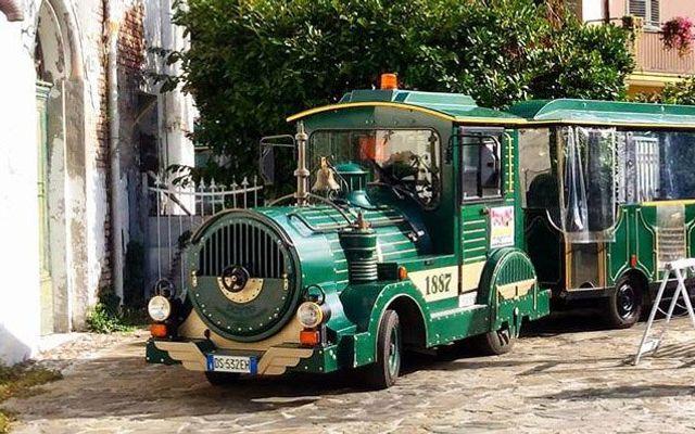 Grüner Zug, der am Hotel vorbeikommt