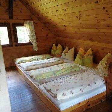 Sleeping gallery on the upper floor, Amberger Hütte in Paternion-Fresach, Nockregion, Carinthia , Austria