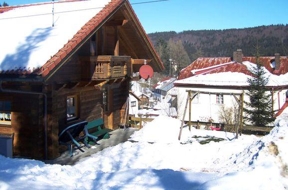 Außen Winter 13 - Hauptbild, Ferienhütte Schachtenbach im Bayerischen Wald, Bayerisch Eisenstein, Bayerischer Wald, Bayern, Deutschland