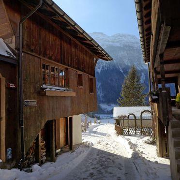 Außen Winter 21, Ferienchalet Hüsli, Brienzwiler, Berner Oberland, Bern, Schweiz